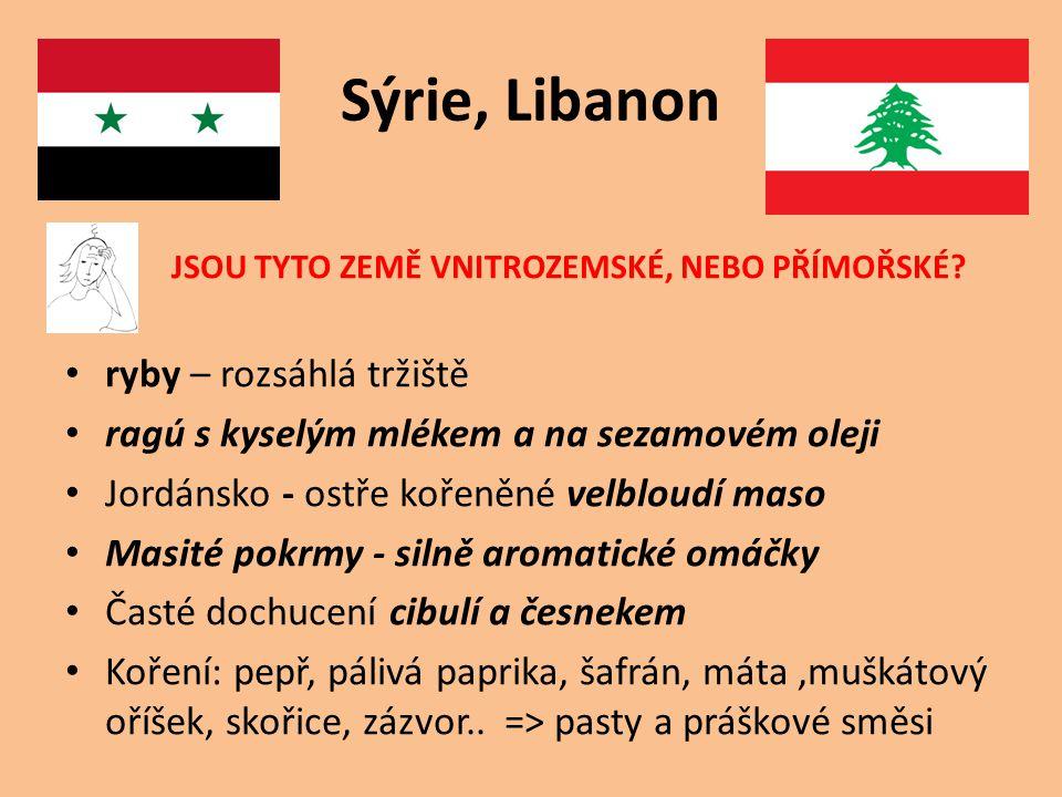 Sýrie, Libanon JSOU TYTO ZEMĚ VNITROZEMSKÉ, NEBO PŘÍMOŘSKÉ.