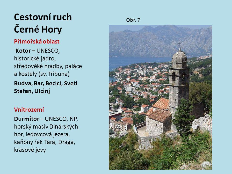 Cestovní ruch Černé Hory Obr. 7 Přímořská oblast Kotor – UNESCO, historické jádro, středověké hradby, paláce a kostely (sv. Tribuna) Budva, Bar, Becic