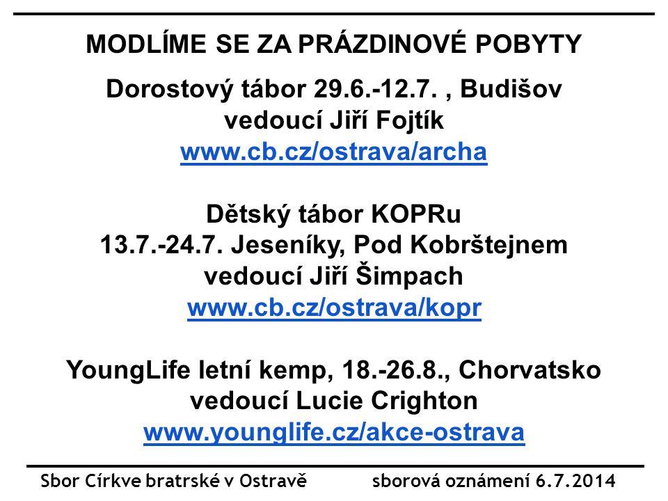 MODLITEBNÍ NÁMĚTY: NEMOCNÍ čas společných modliteb každý den 21:00 Jan Bartoň Jiří Fojtík st.