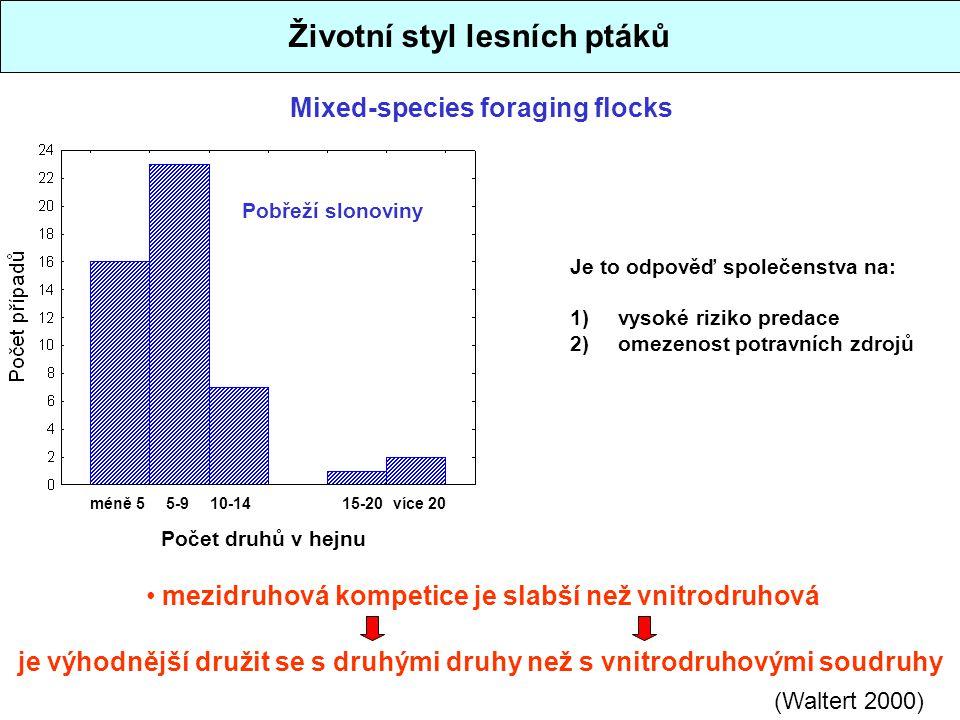 Mixed-species foraging flocks Životní styl lesních ptáků méně 55-910-1415-20více 20 Počet druhů v hejnu Pobřeží slonoviny (Waltert 2000) mezidruhová k