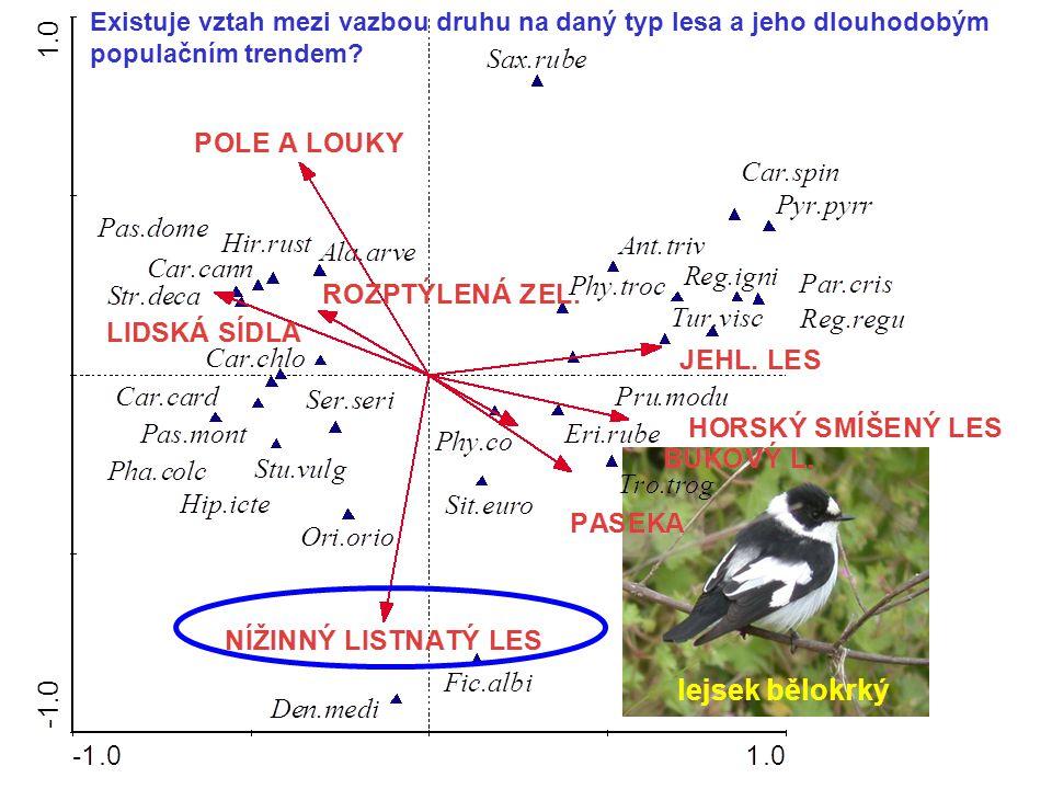lejsek bělokrký Existuje vztah mezi vazbou druhu na daný typ lesa a jeho dlouhodobým populačním trendem?