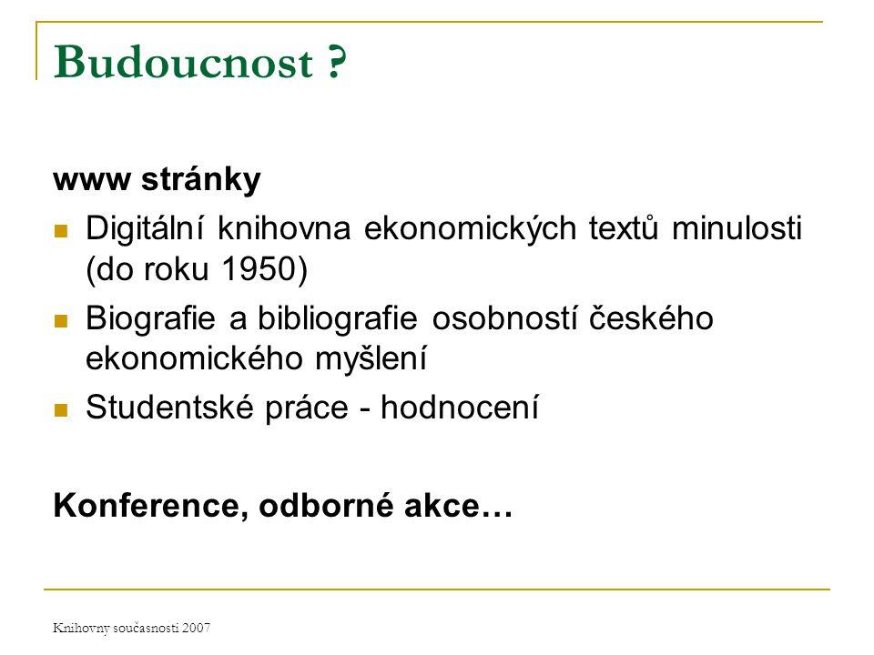 Knihovny současnosti 2007 Budoucnost .
