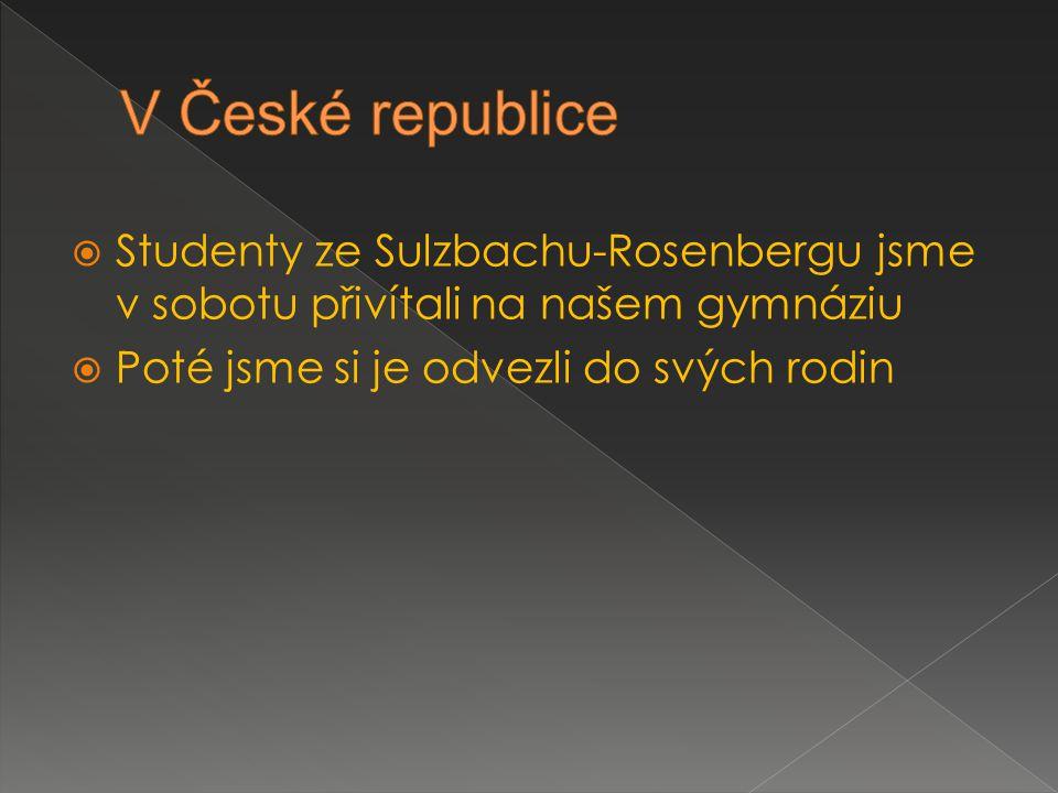  Studenty ze Sulzbachu-Rosenbergu jsme v sobotu přivítali na našem gymnáziu  Poté jsme si je odvezli do svých rodin