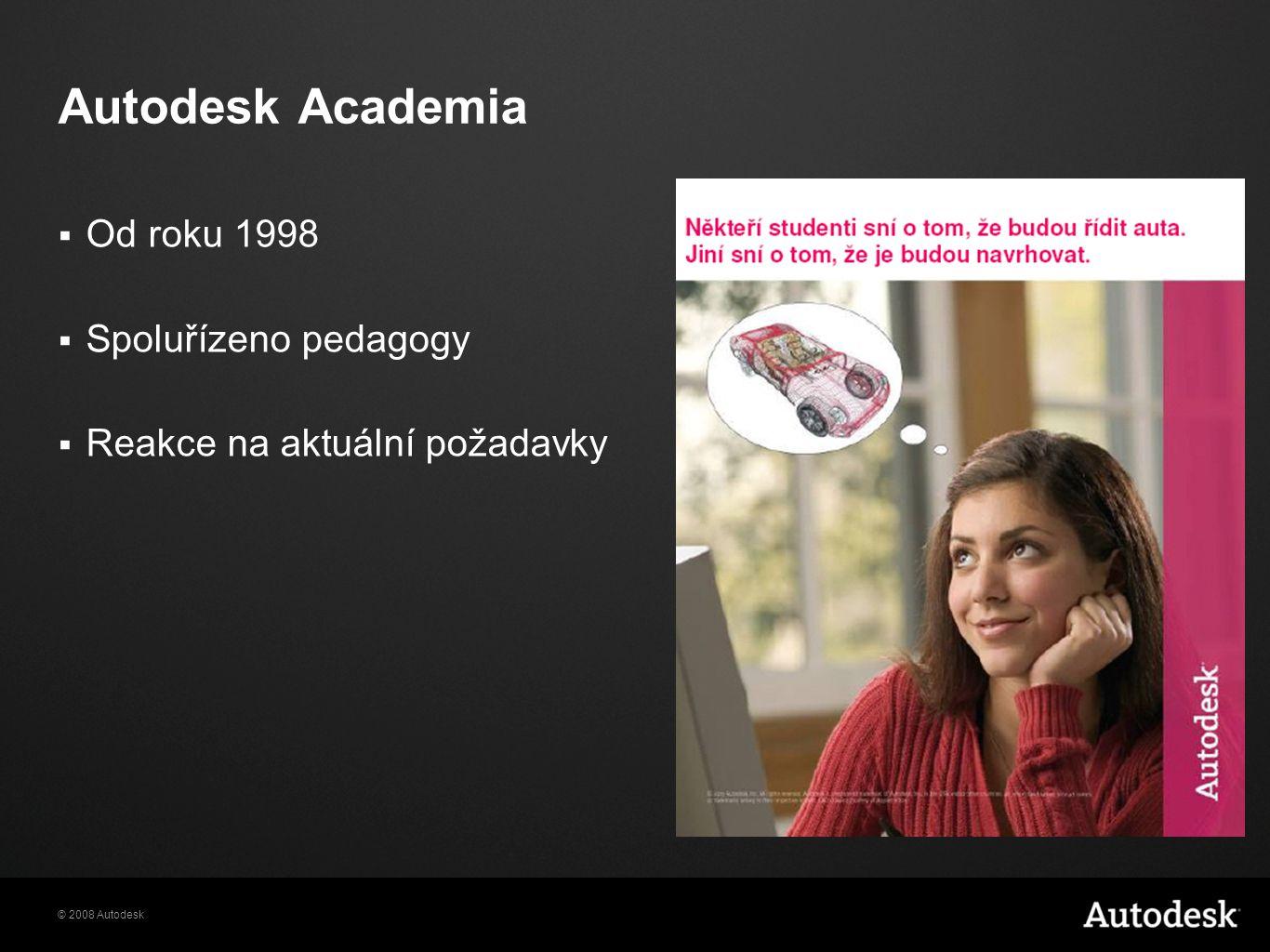 © 2008 Autodesk Autodesk Academia  Od roku 1998  Spoluřízeno pedagogy  Reakce na aktuální požadavky