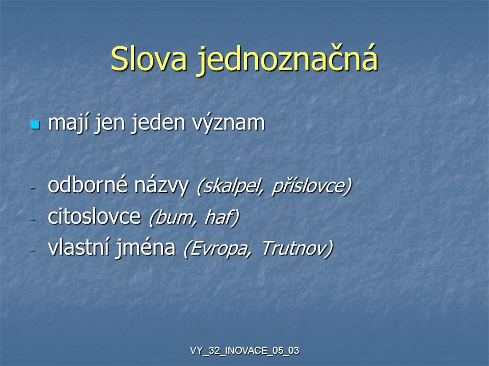VY_32_INOVACE_05_03 Slova jednoznačná mají jen jeden význam mají jen jeden význam - odborné názvy (skalpel, příslovce) - citoslovce (bum, haf) - vlast