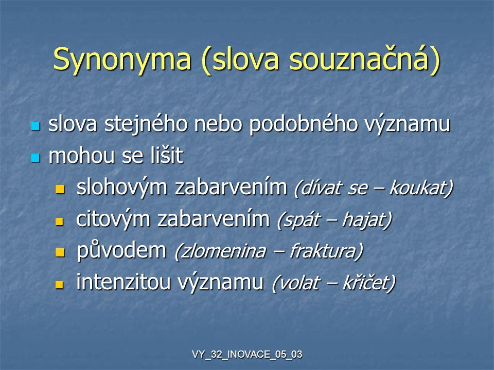 VY_32_INOVACE_05_03 Synonyma (slova souznačná) slova stejného nebo podobného významu slova stejného nebo podobného významu mohou se lišit mohou se lišit slohovým zabarvením (dívat se – koukat) slohovým zabarvením (dívat se – koukat) citovým zabarvením (spát – hajat) citovým zabarvením (spát – hajat) původem (zlomenina – fraktura) původem (zlomenina – fraktura) intenzitou významu (volat – křičet) intenzitou významu (volat – křičet)