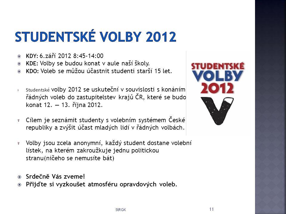  KDY: 6.září 2012 8:45-14:00  KDE: Volby se budou konat v aule naší školy.
