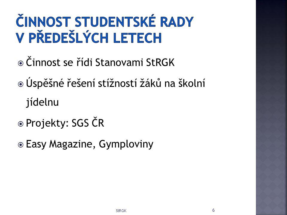  Činnost se řídi Stanovami StRGK  Úspěšné řešení stížností žáků na školní jídelnu  Projekty: SGS ČR  Easy Magazine, Gymploviny StRGK 6