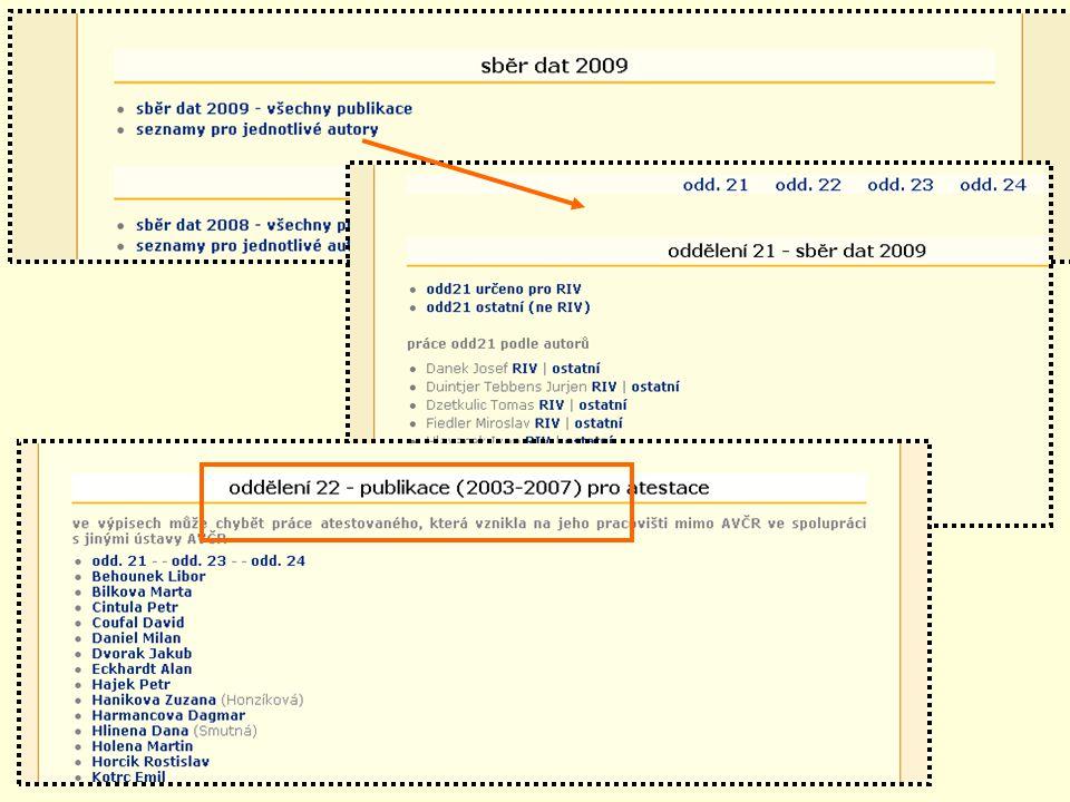 Snímek pro sběr dat 2009