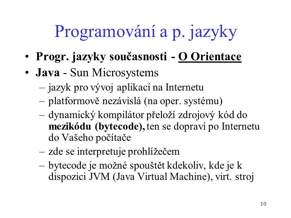 10 Programování a p. jazyky Progr.