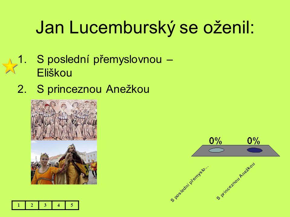 Nejstarším synem Elišky Přemyslovny a Jana Lucemburského byl: 12345 1.Václav-budoucí král Karel IV.