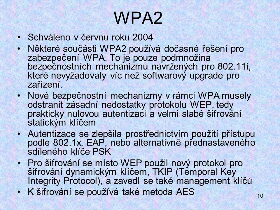 10 WPA2 Schváleno v červnu roku 2004 Některé součásti WPA2 používá dočasné řešení pro zabezpečení WPA.