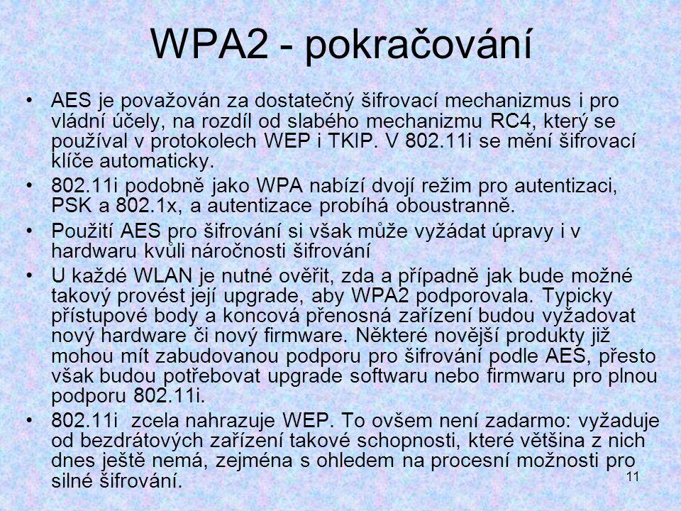 11 WPA2 - pokračování AES je považován za dostatečný šifrovací mechanizmus i pro vládní účely, na rozdíl od slabého mechanizmu RC4, který se používal v protokolech WEP i TKIP.