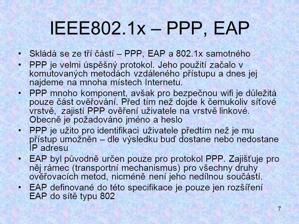 7 IEEE802.1x – PPP, EAP Skládá se ze tří částí – PPP, EAP a 802.1x samotného PPP je velmi úspěšný protokol.
