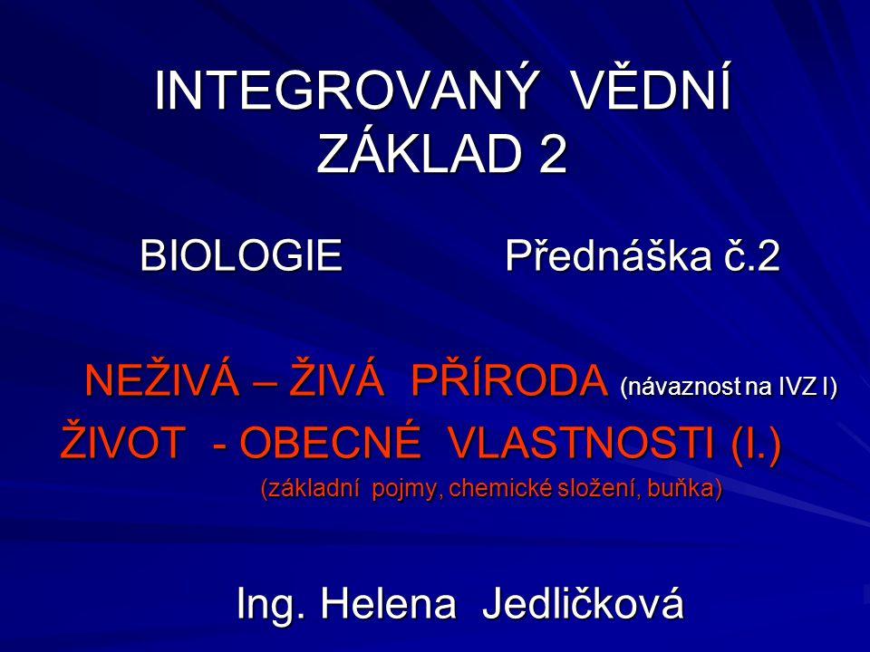INTEGROVANÝ VĚDNÍ ZÁKLAD 2 BIOLOGIE Přednáška č.2 NEŽIVÁ – ŽIVÁ PŘÍRODA (návaznost na IVZ I) ŽIVOT - OBECNÉ VLASTNOSTI (I.) (základní pojmy, chemické