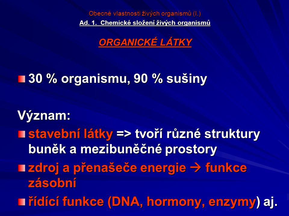 Obecné vlastnosti živých organismů (I.) Ad. 1. Chemické složení živých organismů ORGANICKÉ LÁTKY 30 % organismu, 90 % sušiny Význam: stavební látky =>