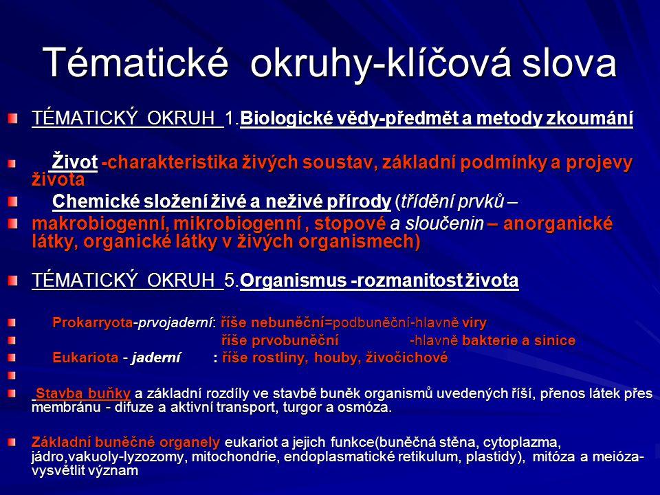 Tématické okruhy-klíčová slova TÉMATICKÝ OKRUH 1.Biologické vědy-předmět a metody zkoumání Život -charakteristika živých soustav, základní podmínky a