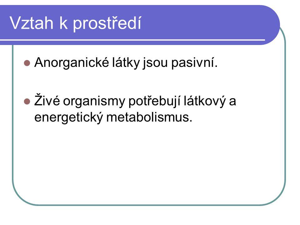 Vztah k prostředí Anorganické látky jsou pasivní.