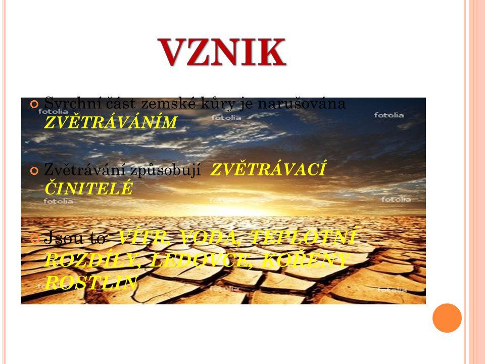 Svrchní část zemské kůry je narušována ZVĚTRÁVÁNÍM Zvětrávání způsobují ZVĚTRÁVACÍ ČINITELÉ Jsou to: VÍTR, VODA, TEPLOTNÍ ROZDÍLY, LEDOVCE, KOŘENY ROS