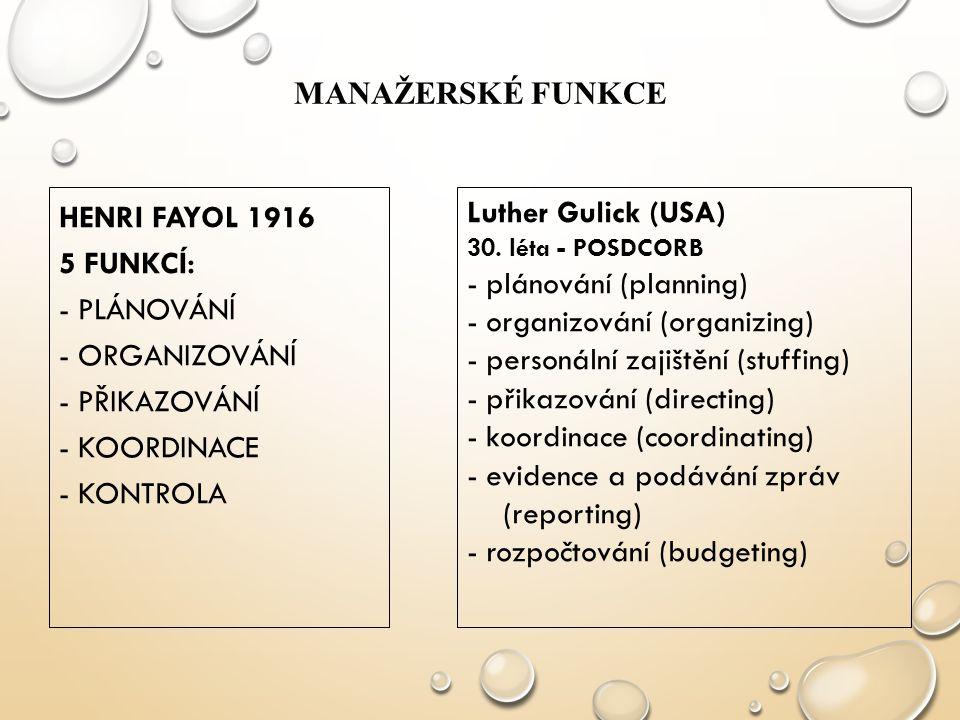 MANAŽERSKÉ FUNKCE HENRI FAYOL 1916 5 FUNKCÍ: - PLÁNOVÁNÍ - ORGANIZOVÁNÍ - PŘIKAZOVÁNÍ - KOORDINACE - KONTROLA Luther Gulick (USA) 30. léta - POSDCORB