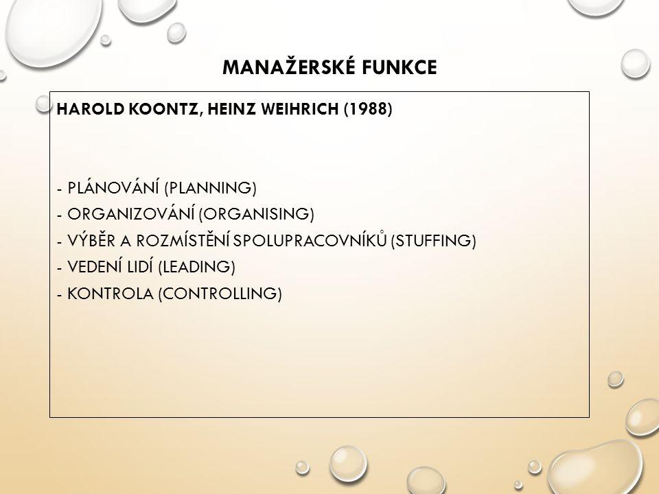 MANAŽERSKÉ FUNKCE HAROLD KOONTZ, HEINZ WEIHRICH (1988) - PLÁNOVÁNÍ (PLANNING) - ORGANIZOVÁNÍ (ORGANISING) - VÝBĚR A ROZMÍSTĚNÍ SPOLUPRACOVNÍKŮ (STUFFING) - VEDENÍ LIDÍ (LEADING) - KONTROLA (CONTROLLING)