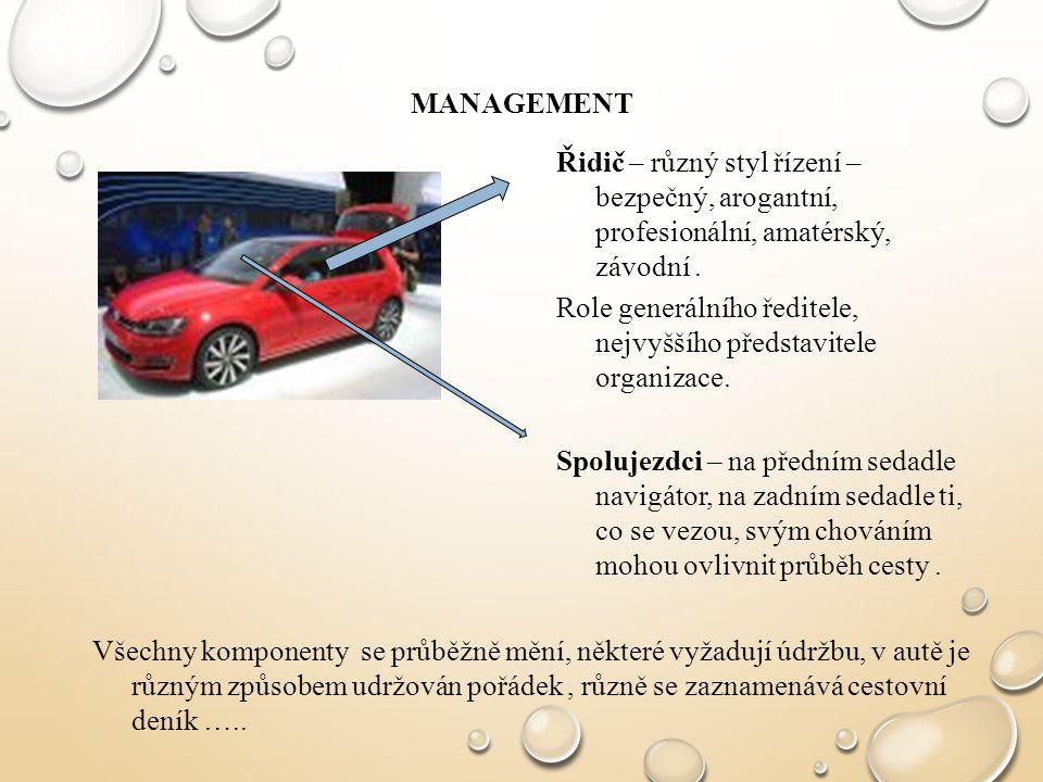 MANAGEMENT Řidič – různý styl řízení – bezpečný, arogantní, profesionální, amatérský, závodní. Role generálního ředitele, nejvyššího představitele org