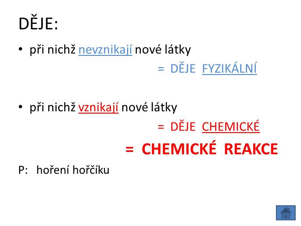 DĚJE: při nichž nevznikají nové látky = DĚJE FYZIKÁLNÍ při nichž vznikají nové látky = DĚJE CHEMICKÉ = CHEMICKÉ REAKCE P: hoření hořčíku