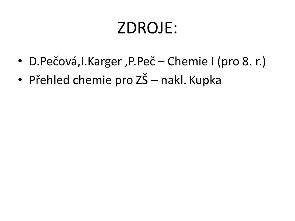 ZDROJE: D.Pečová,I.Karger,P.Peč – Chemie I (pro 8. r.) Přehled chemie pro ZŠ – nakl. Kupka