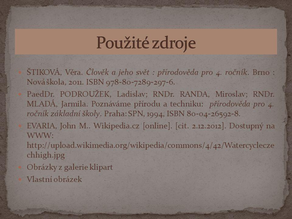 ŠTIKOVÁ, Věra. Člověk a jeho svět : přírodověda pro 4. ročník. Brno : Nová škola, 2011. ISBN 978-80-7289-297-6. PaedDr. PODROUŽEK, Ladislav; RNDr. RAN