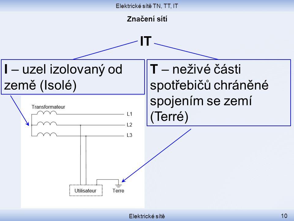 Elektrické sítě TN, TT, IT Elektrické sítě 10 IT I – uzel izolovaný od země (Isolé) T – neživé části spotřebičů chráněné spojením se zemí (Terré)