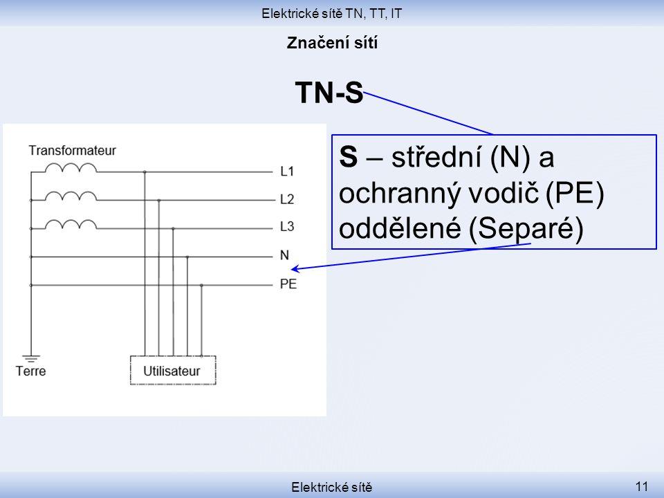 Elektrické sítě TN, TT, IT Elektrické sítě 11 TN-S S – střední (N) a ochranný vodič (PE) oddělené (Separé)