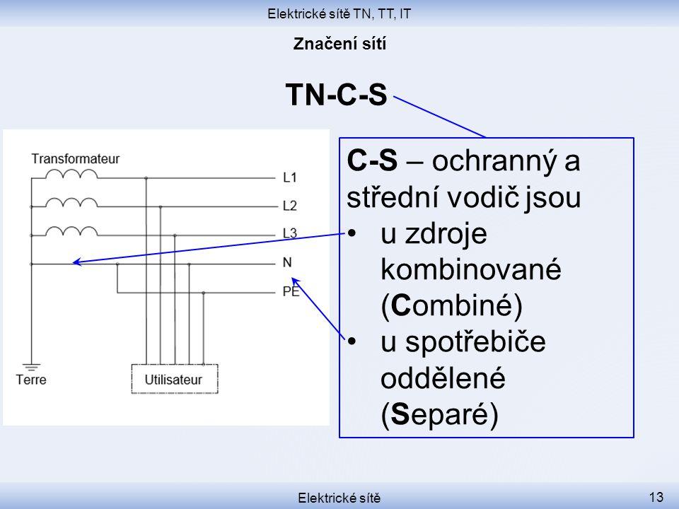 Elektrické sítě TN, TT, IT Elektrické sítě 13 TN-C-S C-S – ochranný a střední vodič jsou u zdroje kombinované (Combiné) u spotřebiče oddělené (Separé)