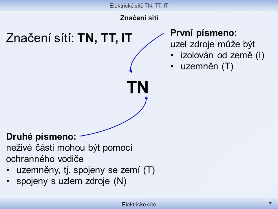 Elektrické sítě TN, TT, IT Elektrické sítě 7 Značení sítí: TN, TT, IT TN Druhé písmeno: neživé části mohou být pomocí ochranného vodiče uzemněny, tj.