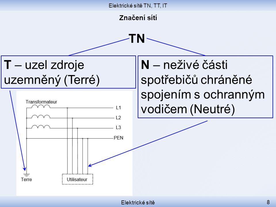 Elektrické sítě TN, TT, IT Elektrické sítě 8 TN T – uzel zdroje uzemněný (Terré) N – neživé části spotřebičů chráněné spojením s ochranným vodičem (Ne