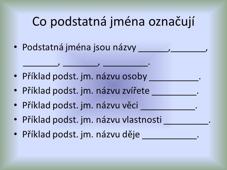 Co podstatná jména označují Podstatná jména jsou názvy ______,_______, _______, _______, _________. Příklad podst. jm. názvu osoby __________. Příklad