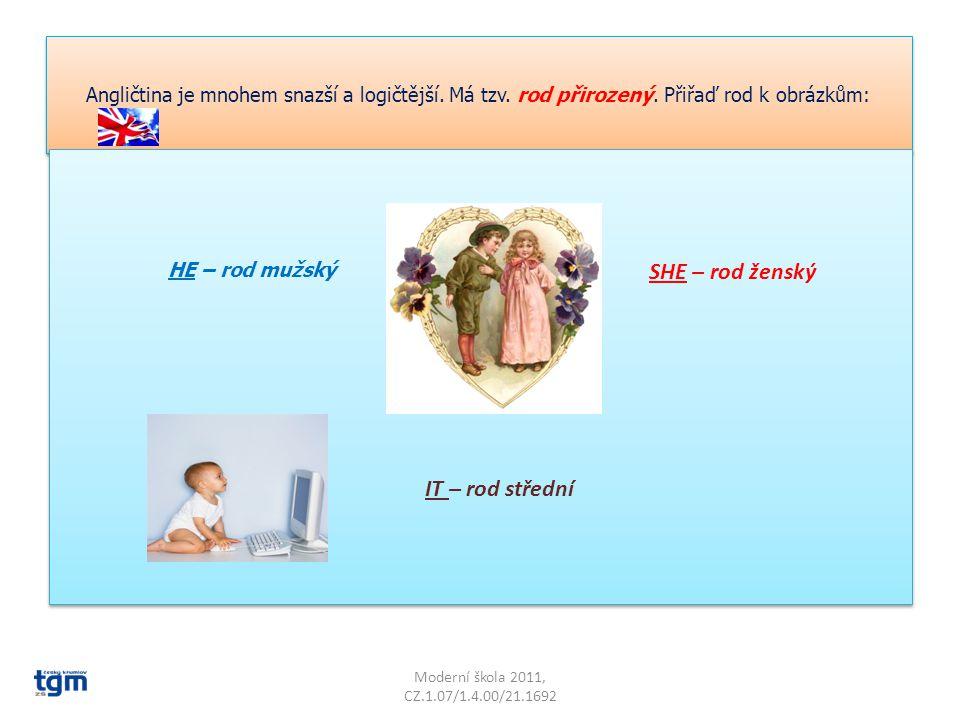 Angličtina je mnohem snazší a logičtější.Má tzv. rod přirozený.