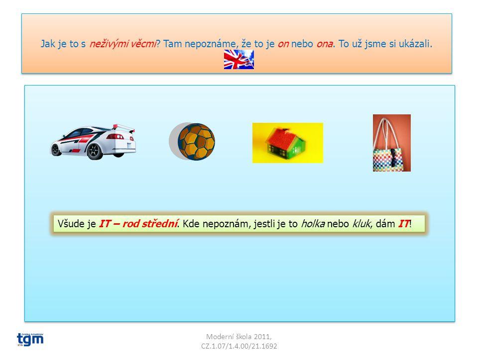 Angličtina je mnohem snazší a logičtější. Má tzv. rod přirozený. Přiřaď rod k obrázkům: Moderní škola 2011, CZ.1.07/1.4.00/21.1692 HE – rod mužský SHE