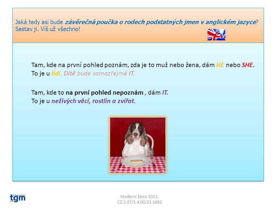 Moderní škola 2011, CZ.1.07/1.4.00/21.1692 Jaká tedy asi bude závěrečná poučka o rodech podstatných jmen v anglickém jazyce.