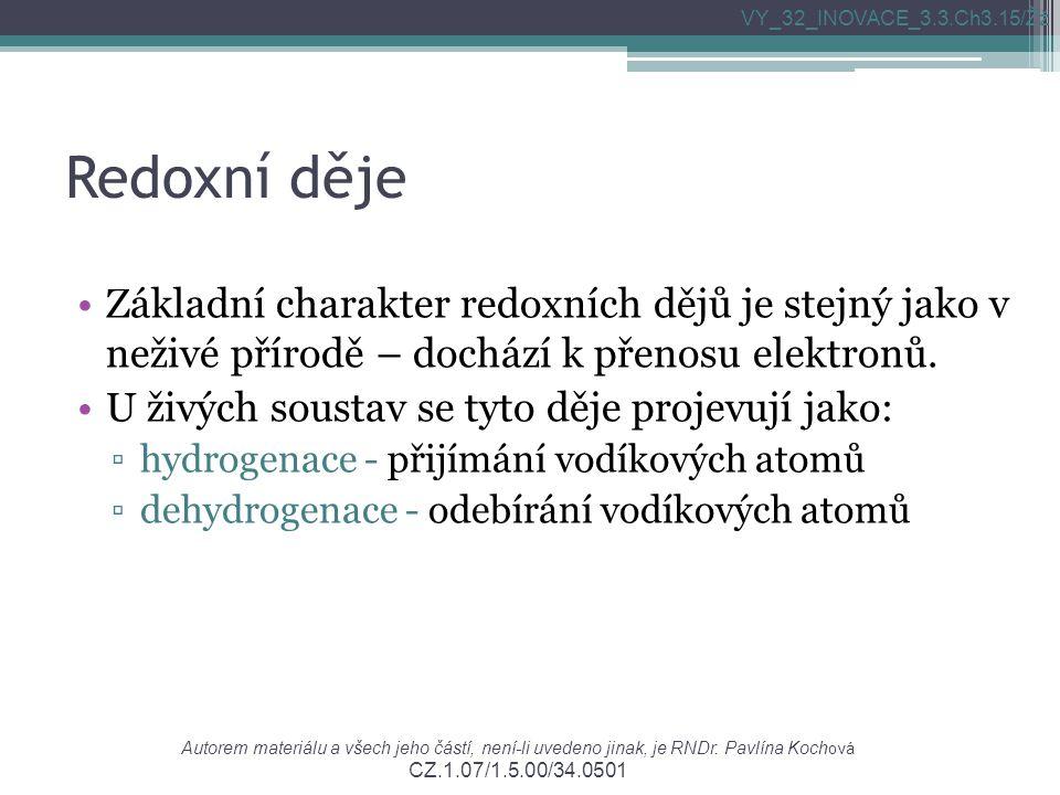 Redoxní děje Základní charakter redoxních dějů je stejný jako v neživé přírodě – dochází k přenosu elektronů.