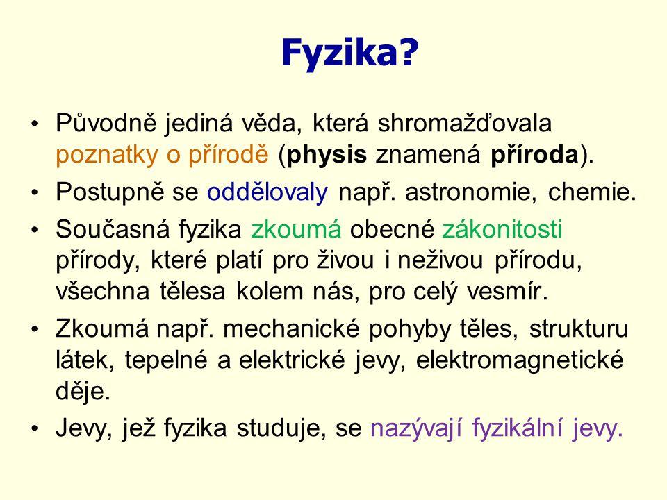 Fyzika? Původně jediná věda, která shromažďovala poznatky o přírodě (physis znamená příroda). Postupně se oddělovaly např. astronomie, chemie. Současn