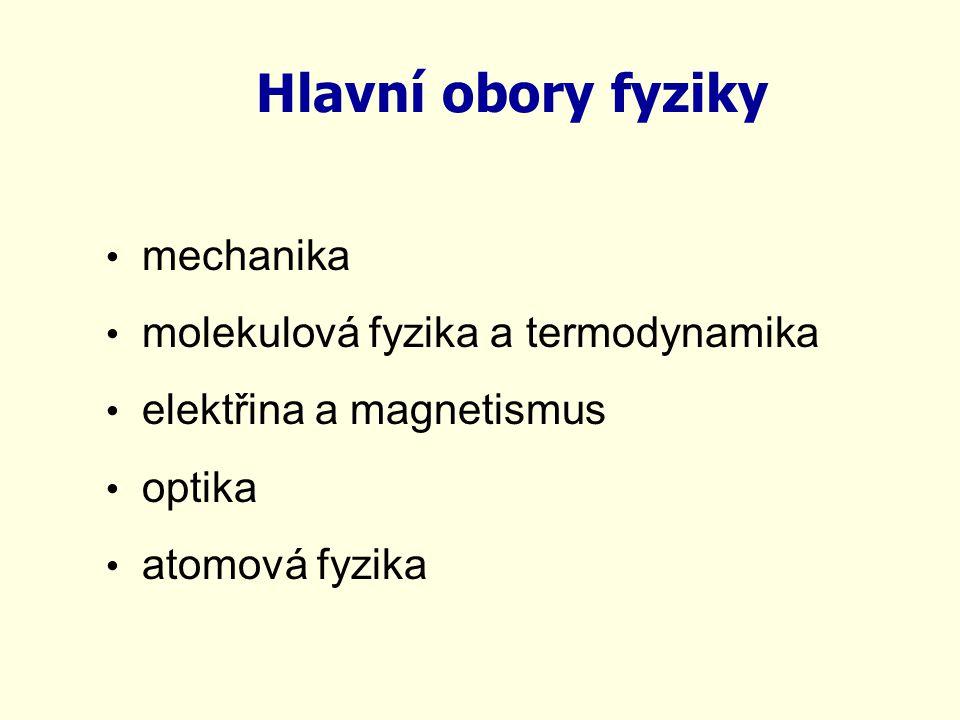Hlavní obory fyziky mechanika molekulová fyzika a termodynamika elektřina a magnetismus optika atomová fyzika