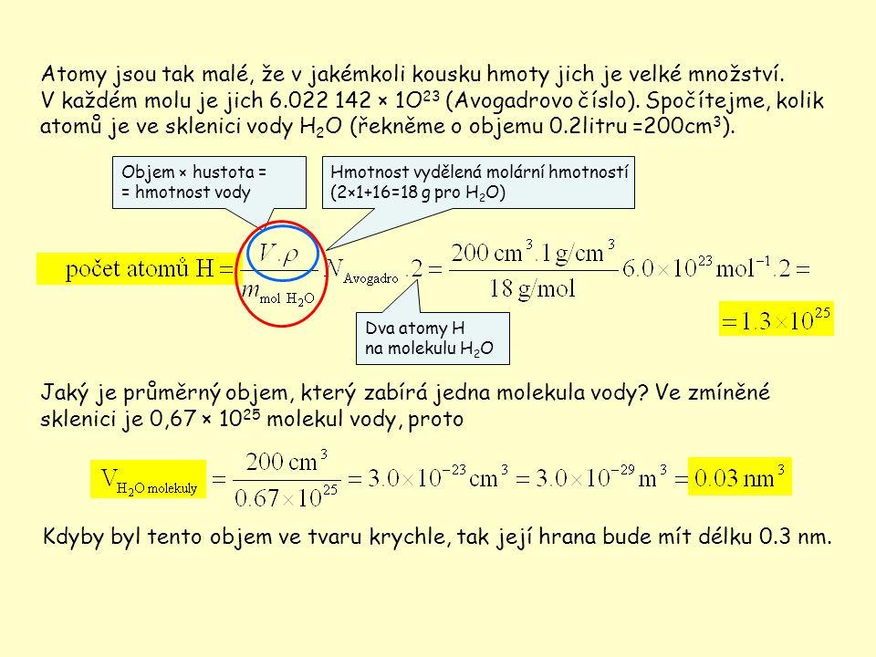 Energetická měřítka z hlediska mikrosvěta Často užívanou jednotkou v mikrosvětě je elektronvolt Klidová energie atomu Klidová energie elektronu Tepelná energie atomu Energie elektronu v televizní obrazovce 1joule Největší energie protonu ze současného urychlovače (Tevatron ve FNAL) Energie proto- nu z příkladu o volném pádu 10 30 10 27 10 24 10 21 10 18 10 15 10 12 10 9 10 6 10 3 1 10 -3 eV (TeV) (GeV) (MeV) (keV) (eV) (meV) Energie obsažená v půllitru piva Lidská denní spotřeba energie Největší energie jednotlivé částice pozorované v kosmickém záření Klidová energie komára Vazbová energie nukleonů v jádru Vazbové energie elektronů v atomech Energie fotonů ve viditelném světle Kinetická energie při chůzi Kinetická energie letícího komára 1eV = 1,602.