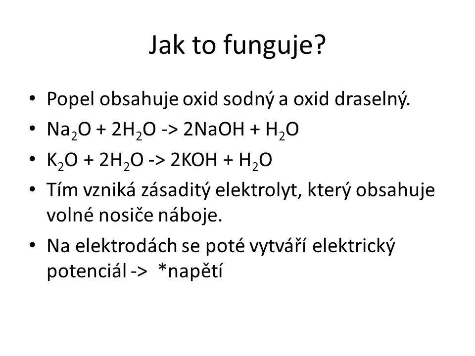 Jak to funguje? Popel obsahuje oxid sodný a oxid draselný. Na 2 O + 2H 2 O -> 2NaOH + H 2 O K 2 O + 2H 2 O -> 2KOH + H 2 O Tím vzniká zásaditý elektro
