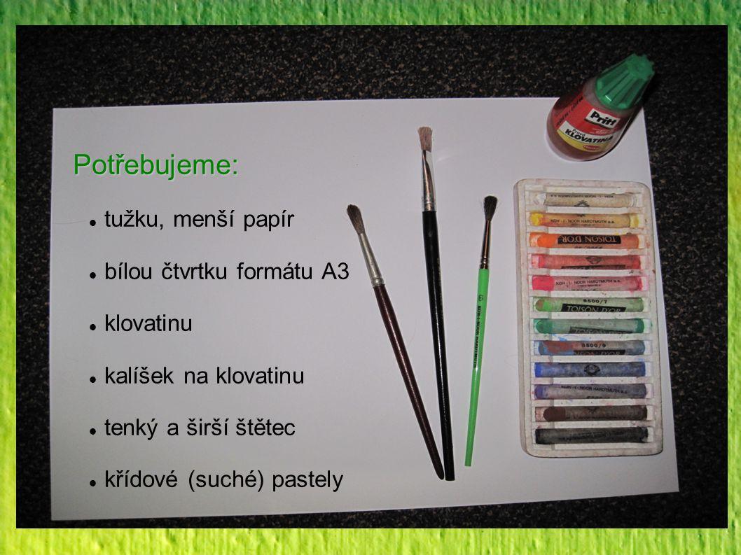 Potřebujeme: tužku, menší papír bílou čtvrtku formátu A3 klovatinu kalíšek na klovatinu tenký a širší štětec křídové (suché) pastely
