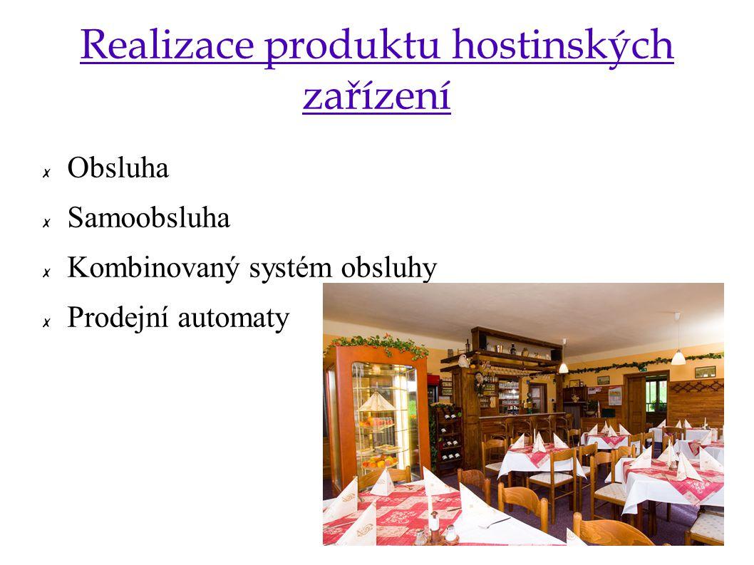 Realizace produktu hostinských zařízení ✗ Obsluha ✗ Samoobsluha ✗ Kombinovaný systém obsluhy ✗ Prodejní automaty