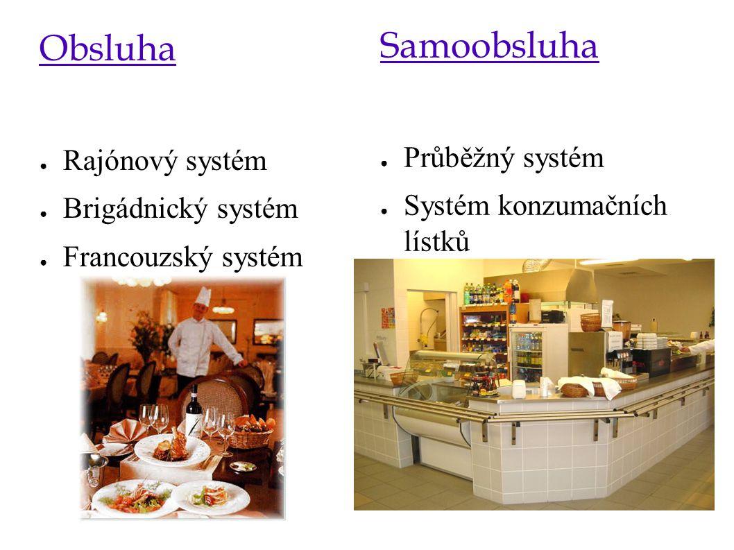 Obsluha ● Rajónový systém ● Brigádnický systém ● Francouzský systém Samoobsluha ● Průběžný systém ● Systém konzumačních lístků