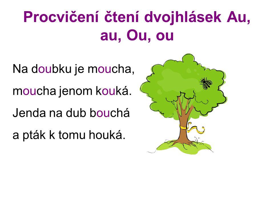 Procvičení čtení dvojhlásek Au, au, Ou, ou Na doubku je moucha, moucha jenom kouká. Jenda na dub bouchá a pták k tomu houká.