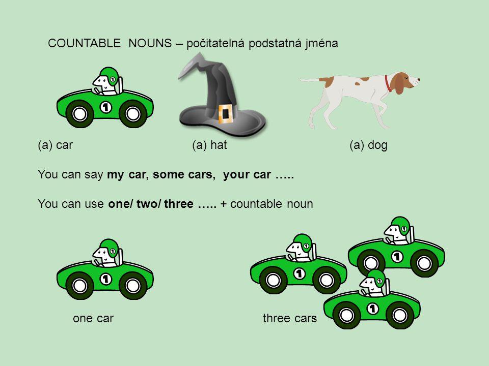 COUNTABLE NOUNS – počitatelná podstatná jména (a)car (a) hat (a) dog You can say my car, some cars, your car …..