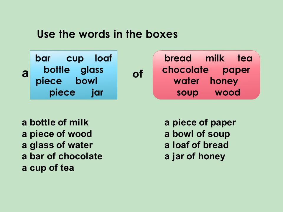 Use the words in the boxes bar cup loaf bottle glass piece bowl piece jar bread milk tea chocolate paper water honey soup wood a of a bottle of milk a