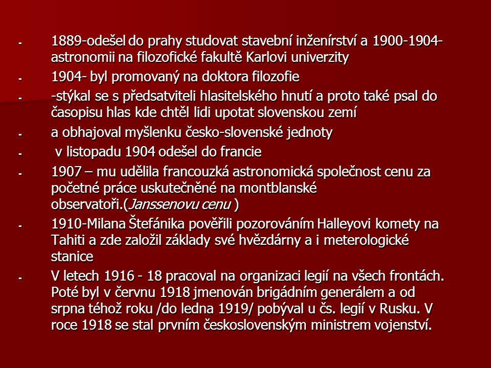 - 1889-odešel do prahy studovat stavební inženírství a 1900-1904- astronomii na filozofické fakultě Karlovi univerzity - 1904- byl promovaný na doktor